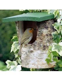 Birch log open nest box