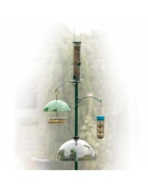 Feeding station pole with two hanging hooks