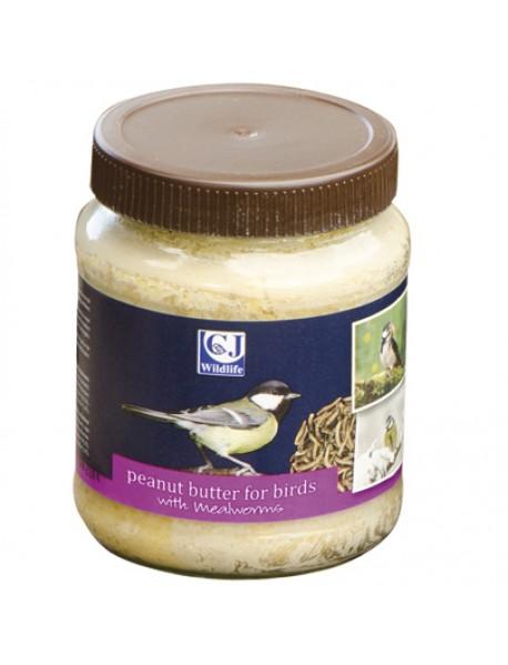 'Mealworms' peanut butter jar for birds