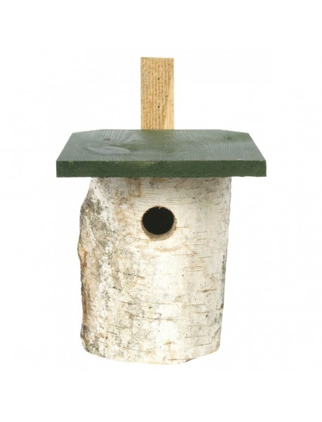 Birch log 32mm hole fronted nest box